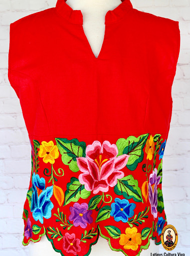 Red Embroidered Mexican Blouse