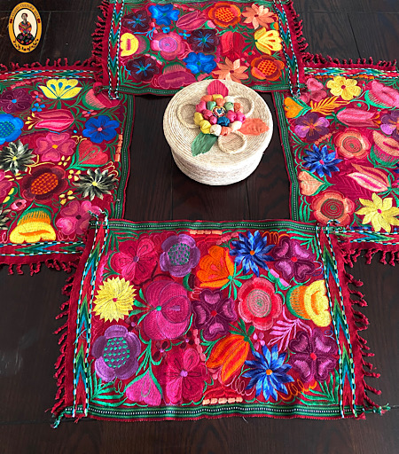 Red Embroidered Mexican Placemat