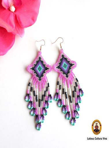 Beaded Pink Mexican Earrings