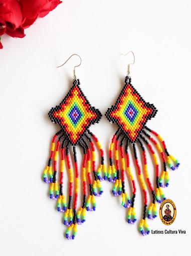 Black Colorful Beaded Earrings