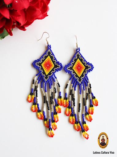 Blue Beaded Mexican Earrings