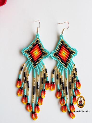 Fire Beaded Mexican Earrings