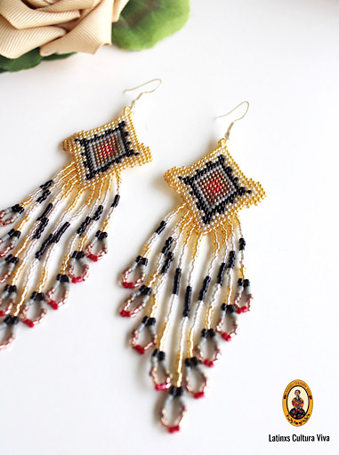 Gold Beaded Mexican Earrings