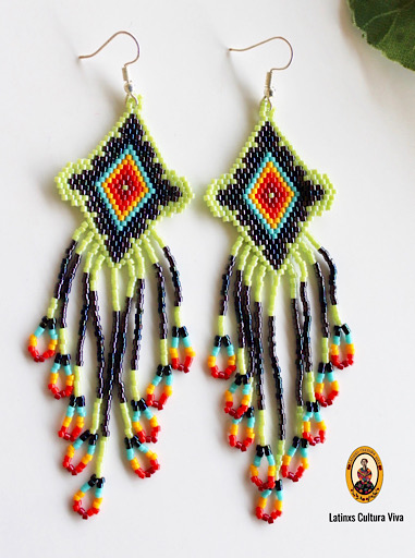 Green Mexican Beaded Earrings