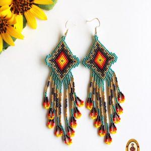 Long Beaded Mexican Earrings
