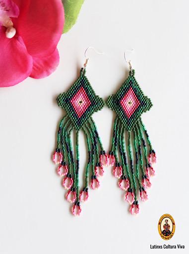Mexican Green Beaded Earrings