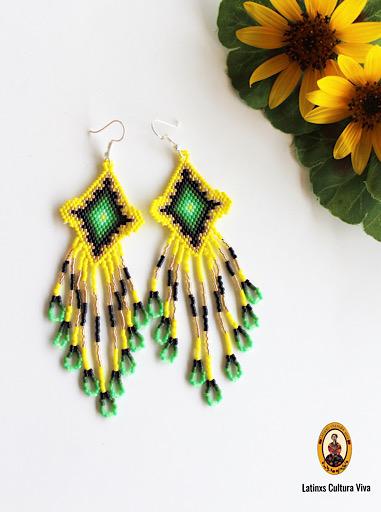Yellow Beaded Mexican Earrings
