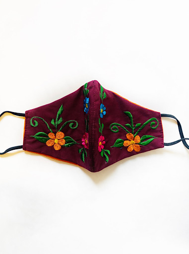 Burgundy Face Mask with Colorful Flowers
