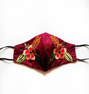 Burgundy Face Mask with Flowers
