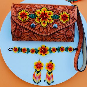 Beaded Flower Leather Wallet