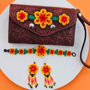 Beaded Flower Leather Wallet