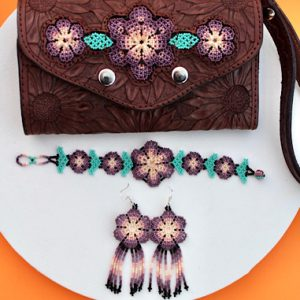 Beaded Leather Wallet