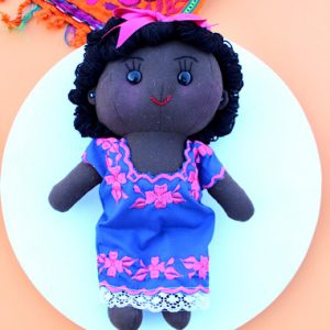 Black Peregrina Mexican Doll