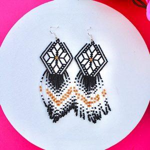 Black and White Beaded Earrings