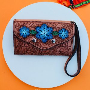 Blue Flowers Leather Wallet