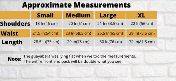Measurament table for dresses