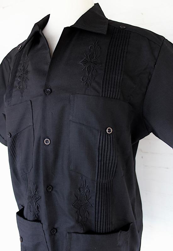 Black Embroidered Guayabera