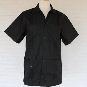 Embroidered Black Guayabera