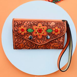 Orange Flower Leather Wallet