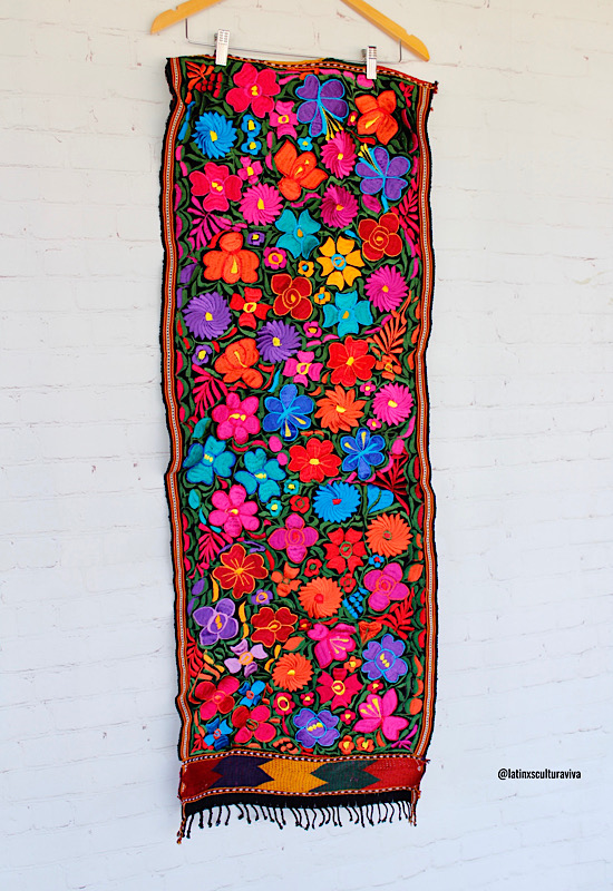 Black Embroidered Mexican Table Runner