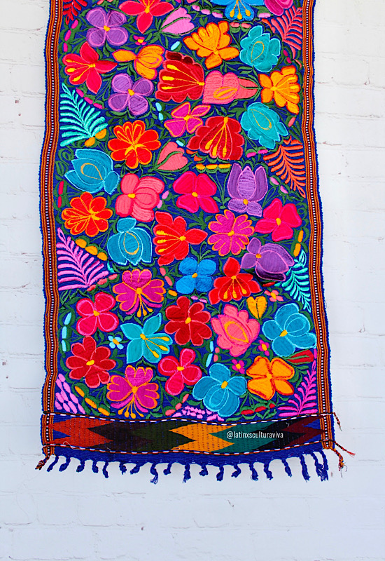 Blue Embroidered Mexican Table Runner