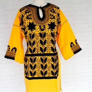 Embroidered Yellow Mexican Dress