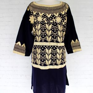 Navy Blue Embroidered Mexican Dress