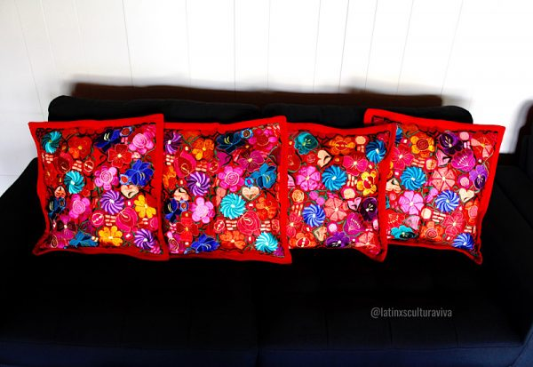 Red Embroidered Pillow Covers