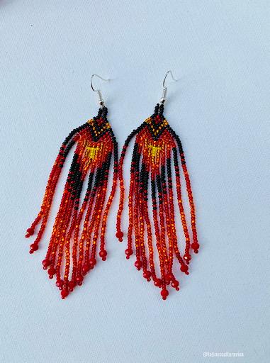 Red and Black Beaded Earrings
